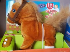 Toy horse makes sounds and trots