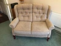 Small sofa and 2 armchairs - elegant and excellent condition. High backed and firm