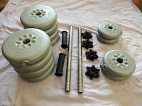 Set of York Dumbells and Free Ab Roller for sale.