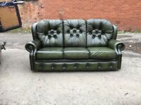 Leather chesterfield style sofa antique green 3 seater high back bought from Saxon leather £350