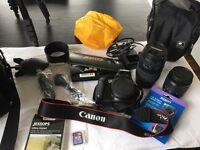 Canon 1100D DSLR, accessories including 2 lenses & tripod