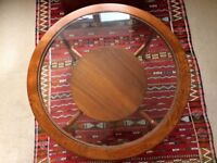 1970s Round Teak Coffee Table with Glass Top
