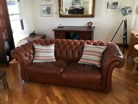 Chesterfield style brown/tan leather sofa in excellent condition