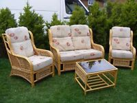 CAN DELIVER - BEAUTIFUL RATTAN SOFA + 2 CHAIRS + SMALL TABLE IN VERY GOOD CONDITION