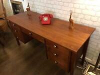 Mid century teak desk, 7 drawers, very good condition, attractive and functional