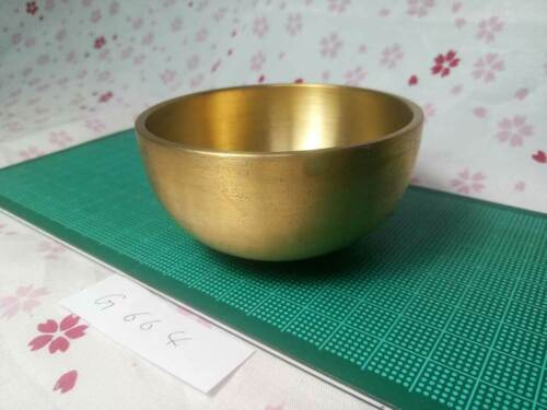 """3.501"""" Japanese Vintage Buddhist Bell Rin G664 Traditional Tone with Short Wave"""