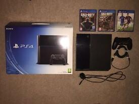 Playstation 4 500GB Black + 3 Games *Perfect Condition*