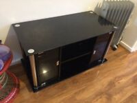Black Glass Mirror Effect TV Stand