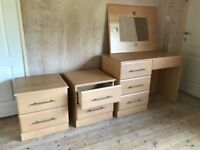Bedroom Furniture (Dressing Table, Mirror and 2 x Bedside Caninets)