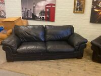 REAL LEATHER SOFA 3 SEATER IN GOOD CONDITION NICE SMART COMFY FREE DELIVER