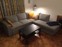 Grey sofa bed. Corner sofa with 4-5 seats. Double bed
