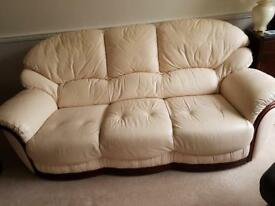 Guildcrest Roma soft leather sofa in pearl