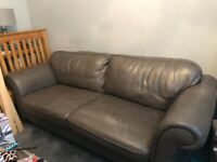 2 leather sofas and footstool for free