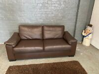TWO SEAT REAL LEATHER SOFA VERY COMFY NICE SMART 59 POUND FREE DELIVERY MCR