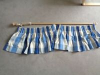 FULLY LINED BLUE AND CREAM CURTAINS, VG QUALITY, VGC