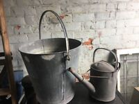 Vintage Galvanused Garden Planters / Decoration Water Bucket & Watering Can ring malc