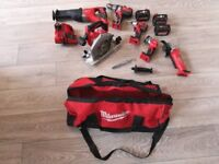Great condition Milwaukee 6 tool set with 3 batteries. All working fine Most hardly used.