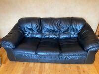 3-Piece Black Leather Suite