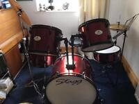 Stag drum kit plus music books and counter