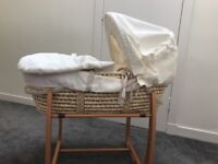 Mamas and Papas Wicker Moses basket and stand. Never used!
