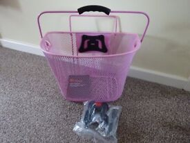 Cycle basket (pink) - quick release handlebar mount with brand new fittings