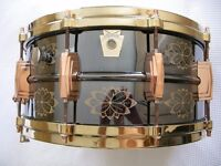 Ludwig LB417EN seamless brass hand engraved Black Beauty snare drum - '91 -USA - #008 -Custom plated