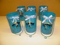 6 blue steel lanterns