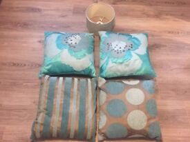 Cushions Pillows for Sofa or Bed x4 and lampshade **Lovely Colours