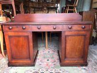 Antique Pedestal Desk Victorian Mahogany Writing Desk - See Delivery