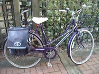VINTAGE RETRO LADIES RALEIGH CAPRICE PURPLE 3 SPEED BICYCLE WITH BASKET E.T.C £50