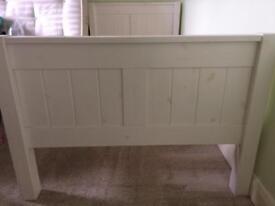 White wash single bed frame