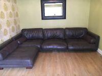 DFS corner sofa chocolate brown