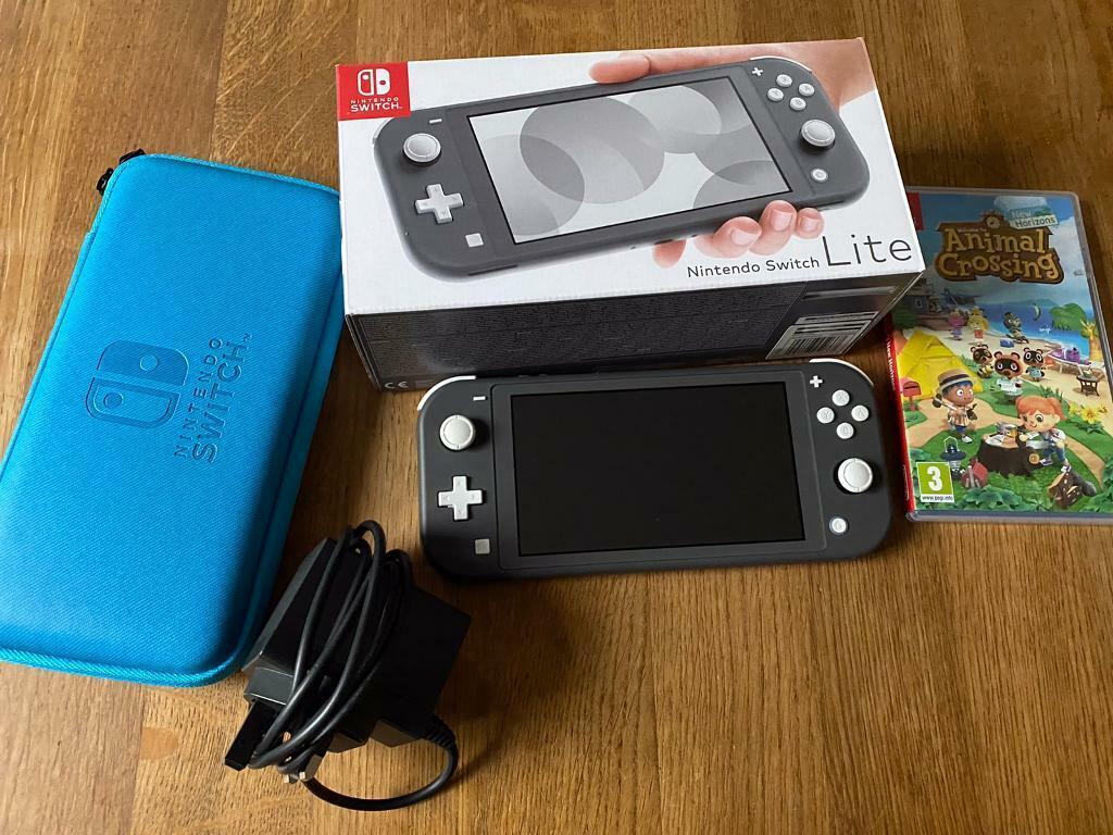 Grey Nintendo switch lite, animal crossing & case | in ...