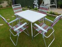 LIGHTWEIGHT FOLDING CHAIRS PLUS TABLE WITH ADJUSTABLE LEGS