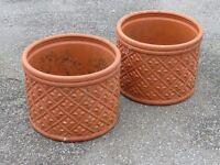 Elegant Pair of Terracotta Planters 24cm Tall Fleur de Lis Detail Large Pots