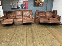 DESIGNER RECLINERS SOFAS 3 & 2 SEAT ELECTRIC REAL LEATHER TWO TONE EFFECT