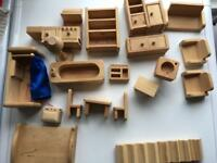 Solid pine dolls house furniture