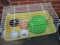 INDOOR RABBIT CAGE WITH HOUSE AND FOOD BOWLS