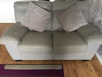 2x 2 seater grey leather settee's
