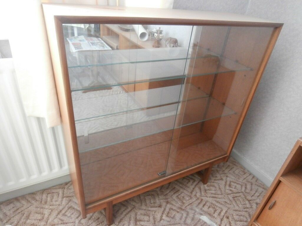 Retro Teak Display Cabinet Glass Shelves Glass Sliding Doors