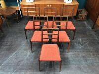 6 Teak Dining Chairs by Richard Hornby for Fyne Ladye. Retro Vintage Mid Century. Danish Style