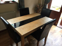 BRISBANE ASHLEIGH OAK ASH GLASS SOLID DINING TABLE & CHAIRS