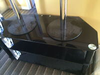 BLACK GLASS TV STAND WITH TWO SIDE TABLES