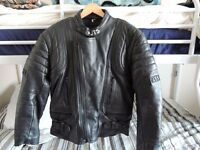 JTS Leather jacket 38 chest 4 zip pockets 1 inside zip pocket.