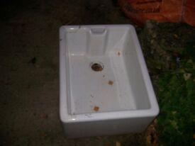 White belfast sink for a garden planter