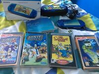 PSP 3003 lite & slim console Electric Blue instructions charger, car charger and 4 games in original