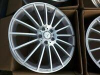 """Mercedes AMG 19"""" inch pair REAR Alloy Wheels w204 2007- 2014 C63 Turbine silver polished alloys rim, used for sale  Stratford, London"""