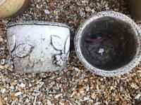 Two light grey planter garden pots