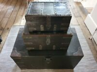 Solid Wooden Treasure chest boxes set of 3