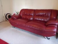 CHERRY RED LEATHER SOFA